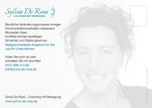Sylvia De Rosa - Coaching mit Bewegung - Postkarte Rückseite groß